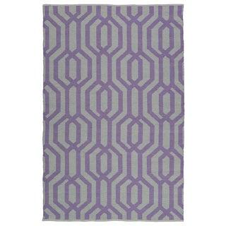 Indoor/Outdoor Laguna Grey and Lilac Geo Flat-Weave Rug (9'0 x 12'0)