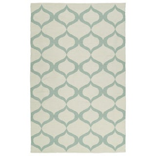 Indoor/Outdoor Laguna Ivory and Mint Geo Flat-Weave Rug (9'0 x 12'0)