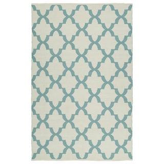 Indoor/Outdoor Laguna Ivory and Seafoam Trellis Flat-Weave Rug (9'0 x 12'0)