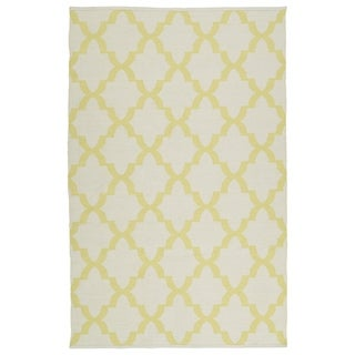 Indoor/Outdoor Laguna Ivory and Yellow Trellis Flat-Weave Rug (8'0 x 10'0)