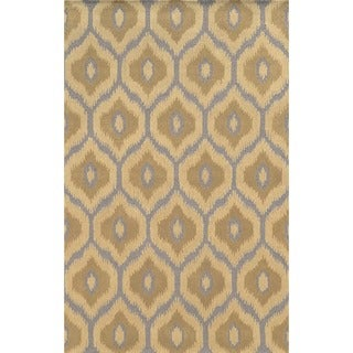Rizzy Home Ivory/ Grey Rockport Collection 100-percent Wool Hand-Tufted Accent Rug (9' x 12')