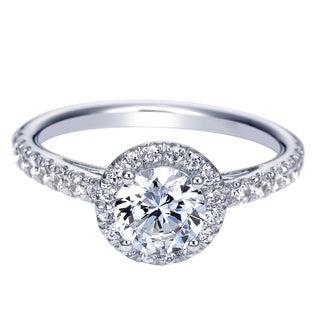14k White Gold Cubic Zirconia and 3/8ct TDW Diamond Semi-mount Halo Engagement Ring (H-I, I1-I2)