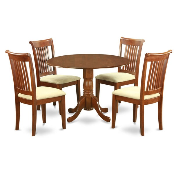 Saddle brown small kitchen table plus 4 dinette chairs 5 for Small dining table with 4 chairs