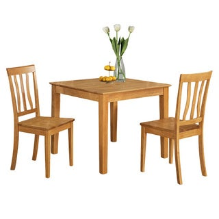 Oak Square Kitchen Table and 2 Chairs 3-piece Dining Set