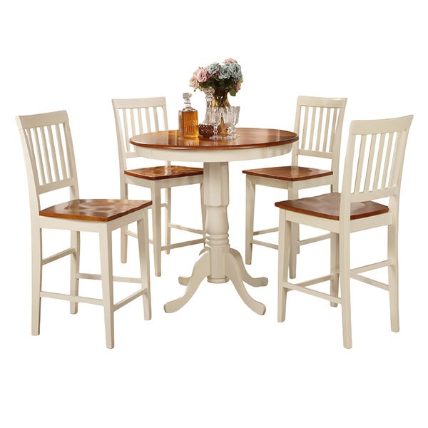 Buttermilk and cherry high table and four kitchen chair 5 for Four chair dining table set