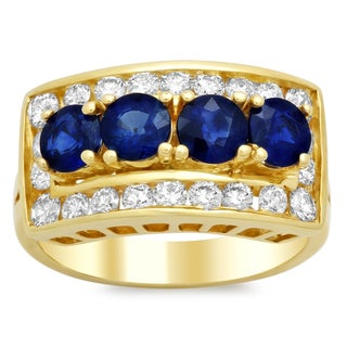 14k Yellow Gold 1ct TDW Diamond and Blue Sapphire Ring (E-F, SI1-SI2)