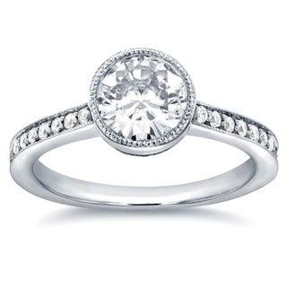 Annello 14k White Gold Round-cut Moissanite and 1/4ct TDW Diamond Bezel Engagement Ring (G-H, I1-I2)