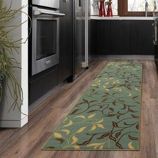 Ottohome Collection Sage Green/ Aqua Blue contemporary Leaves Design Modern Area Rug (1'10 x 7')