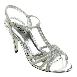 Pazzle Janis-01 Women's Open Toe Chic Strap Rhinestone Slingback Heels