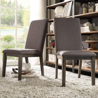 TRIBECCA HOME Ridgefield Industrial Weathered Upholstered Dining Side Chairs (Set of 2)
