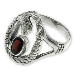 Sterling Silver 'Rainforest Goddess' Garnet Ring (Indonesia)