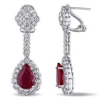 Miadora 14k White Gold Ruby and 2 3/4ct TDW Diamond Teardrop Dangle Earrings (G-H,SI1-SI2)