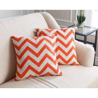 Abbyson Living Jay Pillow Collection 18-inch Orange Chevron Throw Pillows (Set of 2)