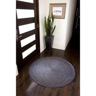 Kerala Grey Jute Handwoven Rug (4' Round)