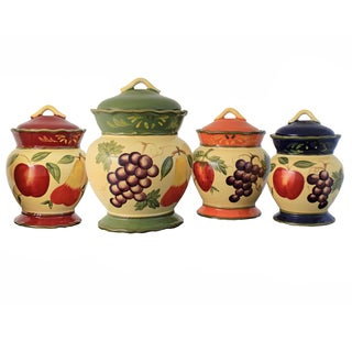 Harvest 4-piece Hand-painted Food Storage Canister Set