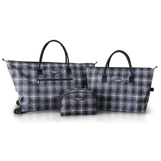 Jacki Design Black 3-piece Rolling Tote Bag and Cosmetic Bag Set