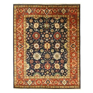 Hand-knotted Navy Super Mahal Wool Rug (9' x 12')