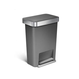 Simplehuman 45-liter Grey Plastic Rectangular Step Can with Liner Pocket