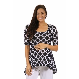 24/7 Comfort Apparel Women's Maternity Abstract Print High-low Tunic