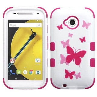 Insten Design Pattern Hard PC/ Silicone Dual Layer Hybrid Phone Case Cover For Motorola Moto E