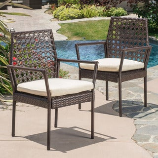 Christopher Knight Home Toledo Outdoor Brown Wicker Dining Chair with Cushion (Set of 2)
