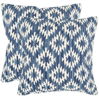 Safavieh Navajo Diamond Blue Throw Pillows (20-inches x 20-inches) (Set of 2)