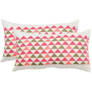 Safavieh Geo Mountain Wild Flower Multi Throw Pillows (12-inches x 20-inches) (Set of 2)