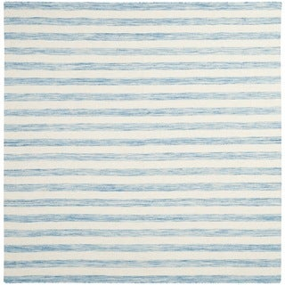 Safavieh Hand-Woven Dhurries Aqua/ Ivory Wool Rug (6' Square)