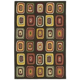 """Moods Charcoal Kara Geometric Wool Rug (9'6"""" x 13')"""