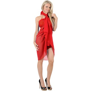 La Leela Chiffon Solid Color Plain Beach Swim Sarong Cover up Pareo Wrap Red