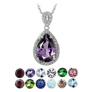 Glitzy Rocks Sterling Silver Birthstone Teardrop Necklace