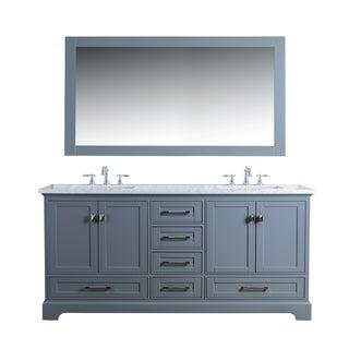 Stufurhome Chanel Grey 72-inch Double Sink Bathroom Vanity Set