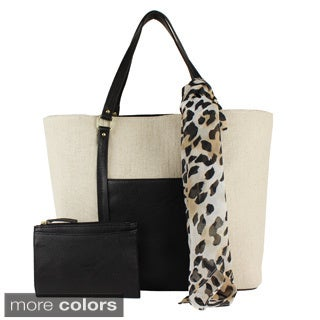 Emilie M. 3-in-1 Cindy Canvas Tote, Scarf and Wallet
