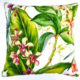 Artisan Pillows Indoor/ Outdoor 18-inch Tommy Bahama Fabric Hawaiian Tropical Island Orchid Floral Throw Pillow (Set of 2)