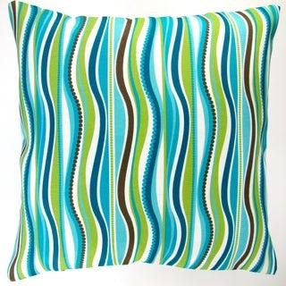 Artisan Pillows Indoor/ Outdoor 18-inch Modern Blue Green Wave Stripe Caribbean Beach House Decor Throw Pillow (Set of 2)