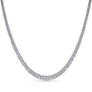 Miadora 18k White Gold 4ct TDW Diamond Two Row Tennis Necklace (G-H, SI1-SI2)
