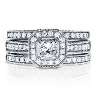 Annello 14k White Gold 4/5ct TDW Princess-cut Halo Diamond 3-Piece Bridal Rings Set (H-I, I1-I2)