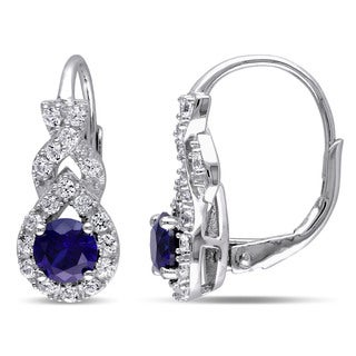 Miadora Sterling Silver Created Blue and White Sapphire Earrings