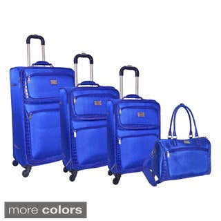Adrienne Vittadini Croco 4-piece Expandable Spinner Luggage Set