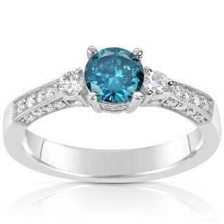 Suzy Levian 14k White Gold 1ct TDW Blue and White Diamond Ring (H-I, SI1-S12)