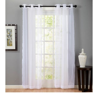 Solid Voile Sheer 84-Inch Curtain Panel Pair