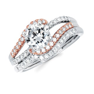 Boston Bay Diamonds 14k White and Rose Gold 1 3/8ct TDW Diamond Bridal Set (G-H, SI1-SI2)