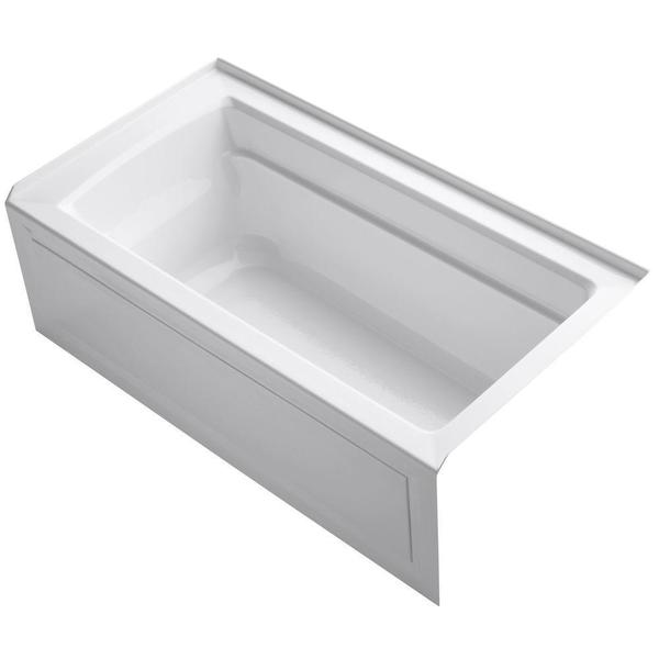 Kohler archer 5 foot right drain soaking tub overstock for Deep soaking tub alcove