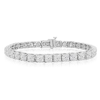 14k White Gold 10ct TDW Round Diamond Tennis Bracelet (J-K, I2-I3)