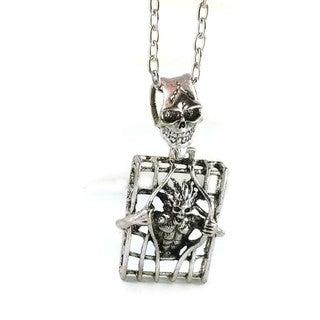 Mama Designs Pewter-toned Base Metal Skelton Men's Long Necklace