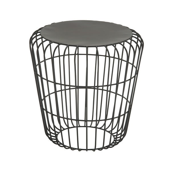 Round wire side table black overstock shopping big for Wire round coffee table