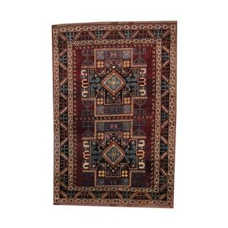 Herat Oriental Afghan Hand-knotted Tribal Kazak Burgundy/ Navy Wool Rug (6'7 x 9'7)
