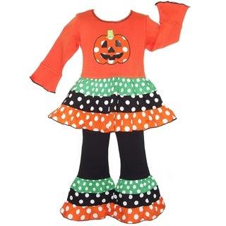 AnnLoren Halloween Polka Dot Pumpkin Dress & Pants Outfit.