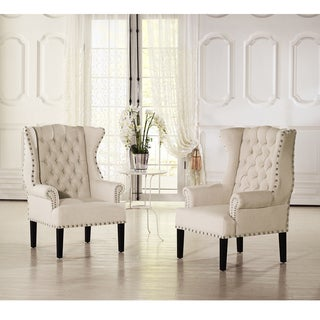 Baxton Studio Patterson Beige Linen And Burlap Upholstered Accent Chair With Button Tufting Nail Head Trim And Wing Back Design