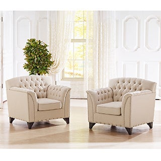 Baxton Studio Pavlov Beige Fabric Upholstered Accent Chair